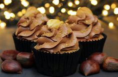 These sweet and festive chestnut and chocolate cupcakes are perfect for getting into the Christmas spirit. With a soft meringue chocolate buttercream and earthy chestnut sponge, these cupcakes are sure to go down a treat Chocolate Mix, Chocolate Hazelnut, How To Make Chocolate, Melting Chocolate, Christmas Chocolate, Baking Cupcakes, Cupcake Cookies, Cupcake Recipes, Baking Recipes