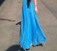 Etsy Colorstore 2011 Chiffon Maxi Skirt Blue