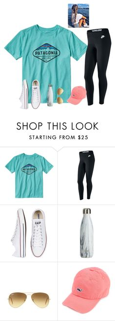 """""""QOTD  What's your favorite preppy t-shirt brand"""" by raquate1232 ❤ liked on Polyvore featuring Patagonia, NIKE, Converse and Ray-Ban"""