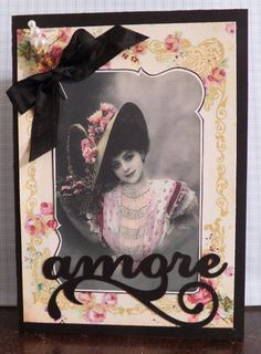 Shabby Chic  handmade Mother's Day or Love  card Amore