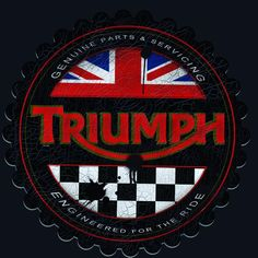Vintage Triumph Motorcycles Advertising by MotorManiac get this design on a tee for Christmas click. Triumph Logo, Triumph Scrambler, Triumph Bonneville, Triumph Motorcycles, Bike Logo, Motorcycle Logo, Motorcycle Posters, Triumph Rocket, Moto Car