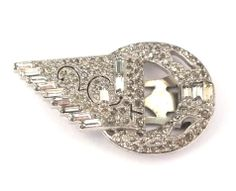 Strassbrosche / Kleiderclip Crystal/Kristallklar - Gablonz/Böhmen 1930 - sc261   Vintage Bohemian Crystal Rhinestone Pin / Dress Clip