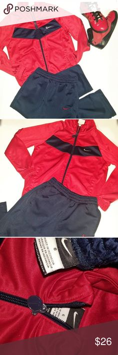nike track jogging outfit nike outfit size 6 Nike  Size 6 (Boy)  Nike outfit size 6 red and blue in great condition  Track jogging suit and zip up Nike Matching Sets