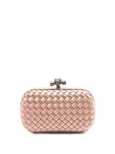 Bottega Veneta The Knot Watersnake-trimmed Intrecciato Satin Clutch In Pink Black Cocktail Dress, Pink Satin, Top Knot, Shades Of Grey, Bottega Veneta, All Black, Knots, Snake, Coin Purse