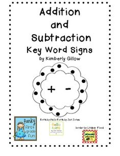 Funky First Grade Fun: Addition/Subtraction Key Words Freebie Teaching Addition, Math Addition, Addition And Subtraction, Math Work, Fun Math, Math Activities, Math Games, Maths, Teaching Math