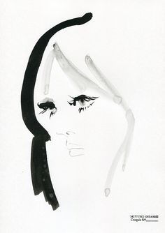 Fashion Sketch - pretty portrait, fashion illustration // Miyuki Ohashi