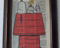 Snoopy and Woodstock Dictionary Art Print