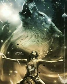 Native American Wolf, Native American Pictures, Native American Artwork, Fantasy Wolf, Fantasy Art Women, Dark Fantasy Art, Native American Spirituality, Wolf Artwork, Wolf Spirit Animal