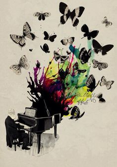 butterfly effect piano music art inspiration design illustration drawing painting « « Mayhem Muse Art Amour, Urbane Kunst, Butterfly Effect, Butterfly Music, Butterfly Design, Butterfly Theory, Butterfly Painting, Photocollage, Inspiration Art