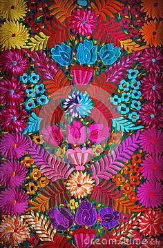 Modern Folk Embroidery Mexican floral embroidery by Dinorah Alejandra Arizpe Valdés, via Dreamstime - Mexican Embroidery, Folk Embroidery, Floral Embroidery, Embroidery Patterns, Simple Embroidery, Bordado Popular, Mexican Pattern, Mexican Colors, Mexican Textiles