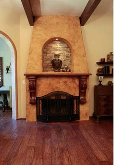 faux finish on fireplace