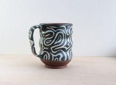 Handmade Modern Pottery Mug, Charcoal and White Glaze, Mod Pattern, Coffee Cup