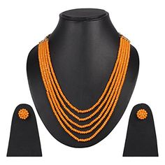Bollywood Party, Indian Bollywood, Beaded Jewellery, Jewelry Necklaces, Necklace Set, Beaded Necklace, Party Wear, Ethnic, Orange