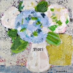 "Christy Kinard, ""Fiori with Blue"", Mixed Media on Board, 36x36 - Anne Irwin Fine Art"