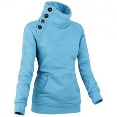 Long Sleeve Sweatshirt Sport Buttons Women's Pullover Top