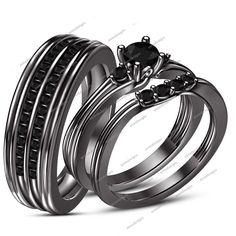 14k Black Gold FN Rd AAA Diamond 925 Silver His & Her Wedding Trio Ring Set Pair