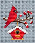 Winter Cardinal pattern Christmas card cross stitch pattern with a cute red cardinal bird perched on a branch and enjoying the snow. • Published 19 days ago • 40×48 stitches • 6 colors