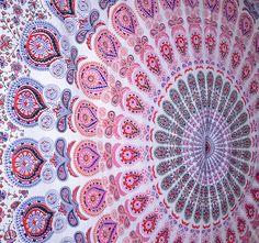 Peacock Pink Mandala Tapestry, Indian Hippie Wall Hanging , Bohemian Bedspread, Mandala Cotton Dorm Decor Beach blanket