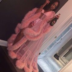 """Turn heads for Valentine's day, lingerie party, or slumber party in this GLAMOROUS robe. Handmade in Michigan Custom light pink robe with fur trim all around. Please include your bra size and height, in the """"notes/instruction"""" box, at checkout. Lingerie Party, Lingerie Outfits, Sexy Lingerie, Glamouröse Outfits, Fashion Outfits, Party Outfits, Trendy Outfits, Vegas Outfits, Woman Outfits"""