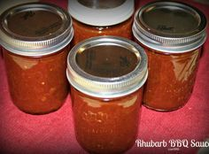 DELISH Rhubarb BBQ Sauce Recipe - made 4-27-16; processed in boiling water bath for 25 minutes.
