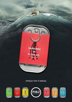FISJ Seafood (conserves de poissons) | Design (concept) : Simen Wahlqvist, Oslo, Norvège (août 2014)avec hameçon
