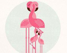 Famille Flamingo imprimé rétro Art décoration de par FortyWinksArt