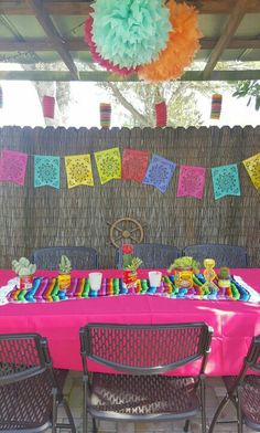 Had a Mexican Fiesta dinner for my bday last week! Made the centerpieces from cans and succulent plants. Put a few candles in between. Looked really cute and festive.