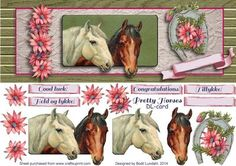 Pretty Horses DL card on Craftsuprint designed by Bodil Lundahl - When I found this more than 100 years old horse picture on a vintage card with these two beautiful horses, I just HAD to make something out of it.