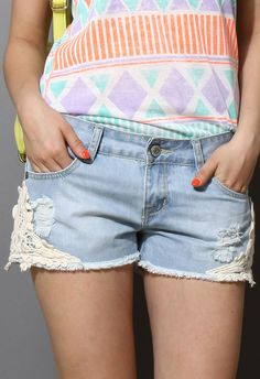 Lace Denim Shorts $44.90  http://www.chicwish.com/lace-denim-shorts.html  #Chicwish