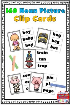 Here's a set of 160 picture noun clip cards. It includes all words from the Fry list and the Dolch list. Just print, laminate and add clothespins for a reusable literacy center! Reading Task Cards, Reading Fluency, Kinesthetic Learning, Fun Learning, Nouns Exercises, Dolch List, Alphabet Sounds, Small Cards, Literacy Centers
