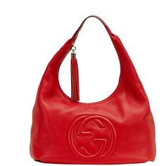 Pre-owned Gucci Hobo Bag ($1,120) ❤ liked on Polyvore featuring bags, handbags, shoulder bags, red, leather hobo handbags, red leather handbag, gucci shoulder bag, red shoulder bag and leather hobo purse