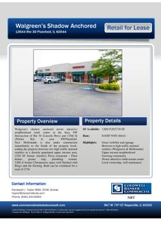 13544 Rte 30  Plainfield, IL 60544 Size sqft. 1,200-2,720 SF Unit Category Retail, Office Trans. Type Lease Company  Coldwell Banker Comme...