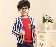 0fa719ddf682 Classy White Summer Coat for Children with Vertical Blue Stripes and Pockets