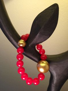 Red malaysian jade bead bracelet with gold by by2y on Etsy