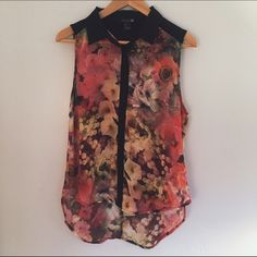 Forever 21 Floral Button Down Tank w/ Cut-Out Back Beautiful floral button down tank top with a floral pattern and a cut court triangle in the back. Never worn, in perfect condition. Forever 21 Tops Button Down Shirts