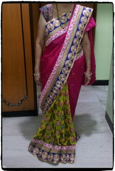 Pink & Yellow saree with blue border.