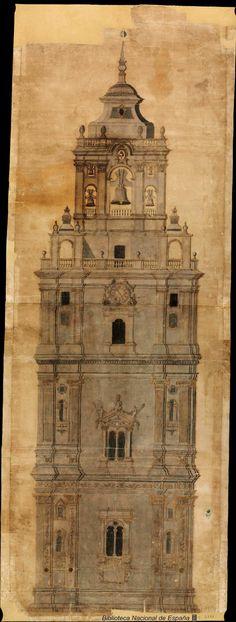 [Proyecto para finalizar la torre de la Catedral de Murcia]. Anónimo español s. XVIII — Dibujo — 1765
