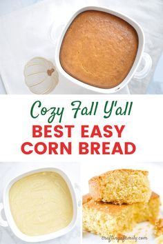 Simple sweet moist cornbread perfect side dish for any fall recipe. You can make the traditional recipe from scratch or cornbread quick New Recipes For Dinner, Thanksgiving Dinner Recipes, Dinner Recipes Easy Quick, Thanksgiving Sides, Easy Dinners, Side Salad Recipes, Top Recipes, Fall Recipes, Holiday Recipes