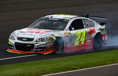 Jeff Gordon #24 3M Chevrolet after being involved in an on-track incident during the NASCAR Sprint Cup Series Crown Royal Presents the Jeff Kyle 400 at the Brickyard at Indianapolis Motor Speedway on July 26, 2015 in Indianapolis, Indiana