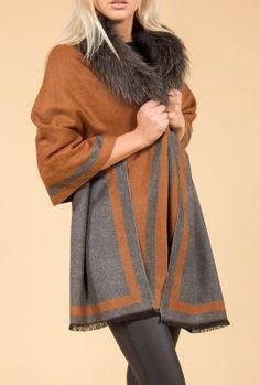 Shop Jayley Mocha Feather Print Cashmere Wrap   Fur Collar Wrap