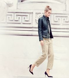 J.Crew women's Collection standing-collar leather jacket and broken-in boyfriend chino pant.