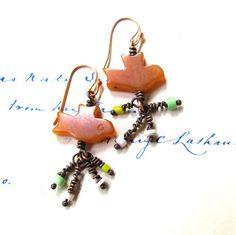 BIRD POOP Earrings bird earrings southwestern by OneEyeCatStudio