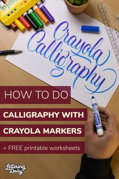 Crayola Calligraphy, How To Do Calligraphy, Calligraphy Lessons, Calligraphy Worksheet, Calligraphy Tutorial, Calligraphy For Beginners, Hand Lettering Tutorial, Hand Lettering For Beginners, Hand Lettering Practice