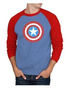 Captain America Logo Crew Sweatshirt Men s Marvel Crewneck Sweater Blue Red  Captain America Shield 5ec57187c