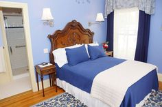 Room 4 in our #vacation home in Rockland, #Maine offers guests a queen bed and a private en-suite bath with a deluxe 2-person shower! Don't forget our homemade breakfast and pie! #airbnb #Rockland