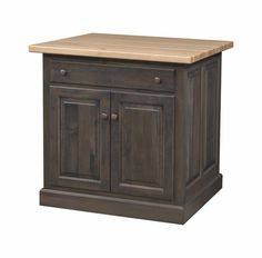 Amish Traditional Mission Flat Panel Kitchen Island A solid wood centerpiece for the kitchen. Dine, work on projects, add more storage--it's all offered with this custom built wood island. #kitchenislands
