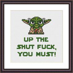 Yoda Star Wars Funny Cross Stitch PDF Pattern Up The Shut Fk
