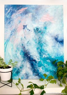 """On My Way"" Original contemporary modern abstract canvas artwork in blue and white by Australian artist Kate Fisher."