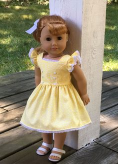 American Girl doll yellow sundress by MySewYouCreations on Etsy https://www.etsy.com/listing/463594651/american-girl-doll-yellow-sundress