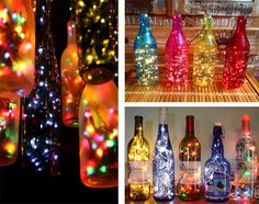 Decoration lighting using glass bottles